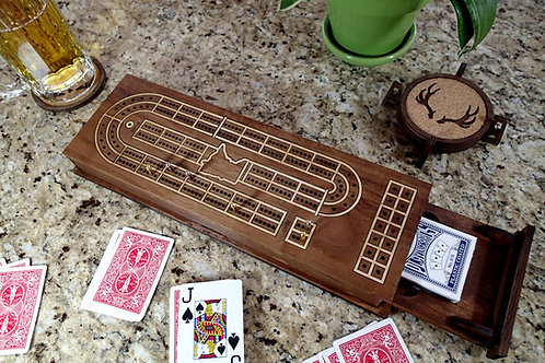 Walnut Cribbage Board with Maple Inlay