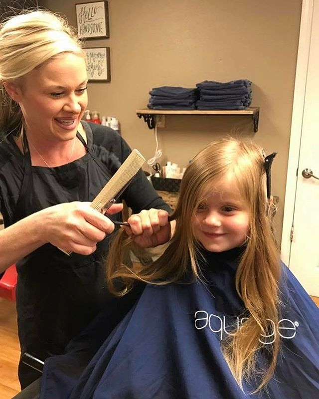 Look at this cutie getting a cut 💇 _ Done by Stacie Daigre