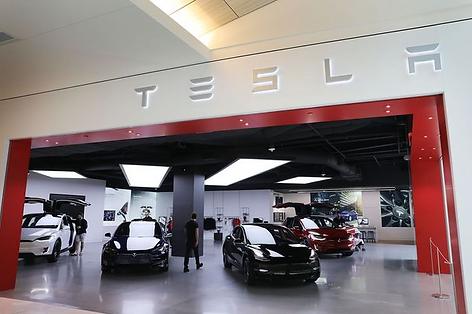 Interior photo of Tesla Motors Showroom in California