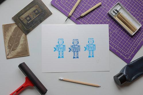 Robots lino print artwork for children - blue