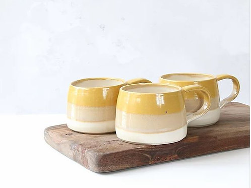 Mustard ombre mugs by Claire Folkes