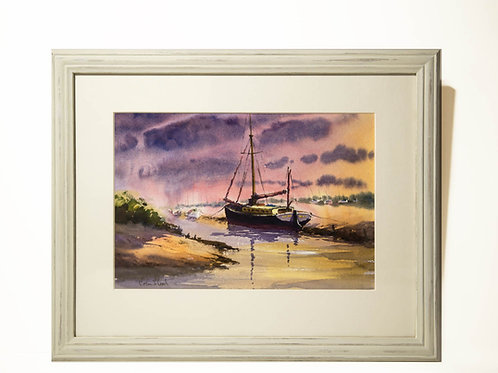 'Sunset Behind Barge, Blakeney' - Painting