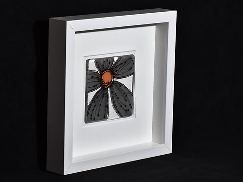 Framed Glass Flower Artwork (Grey)