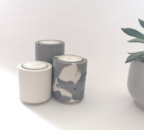 Tealight Trio in Grey/Snocam/White