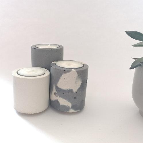 Tealight Trio in Grey/Snocam/White
