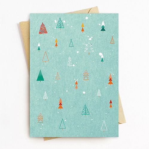 Christmas Tree Greetings Card by Rachel Foley