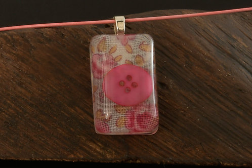 Fabric Pill - Pink Flower fabric with button