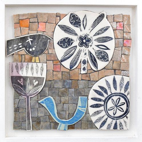 Bird mosaic artwork