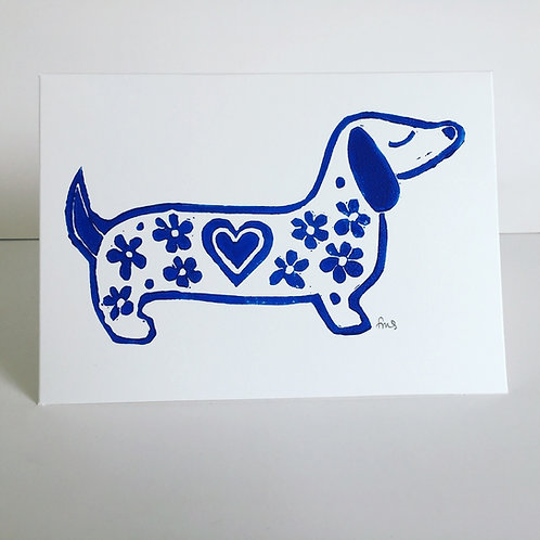 Sasuage Dog Red (greetings card)