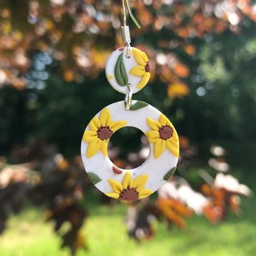 Rusty Sunflower - Circle and Loop Dangling Earrings