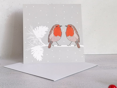 Robins on a branch Christmas Greetings Card