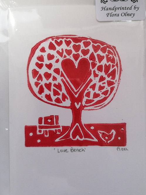 Love Bench Red (greetings card)