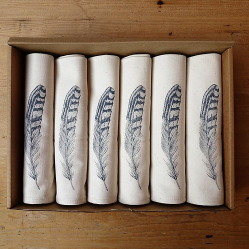 Grey Feather Napkin Gift Set
