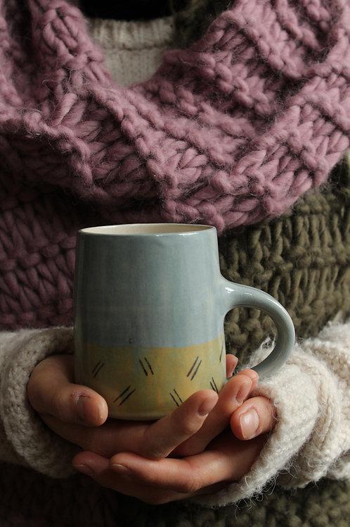 Marching Lines - Large Stoneware Mug