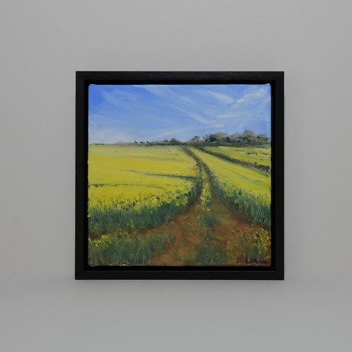 Gt Easton Field View Painting- Essex Oilseed Rape Field