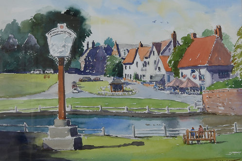 Village sign Finchingfield Painting
