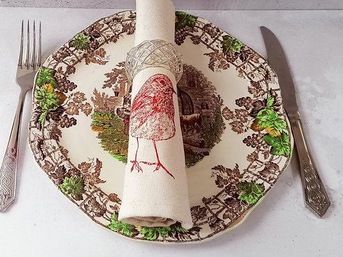 Christmas Robin Napkin Gift Set