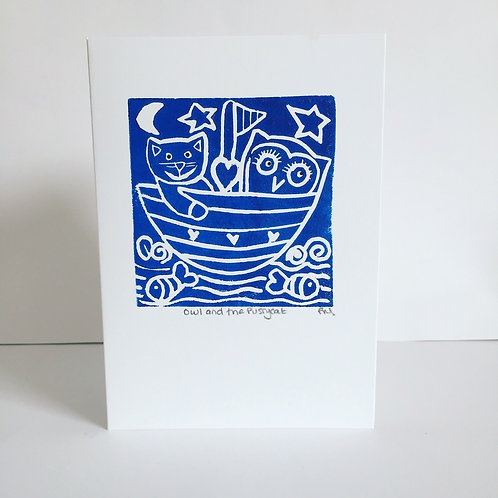 Owl and Pussycat (blue greetings card)