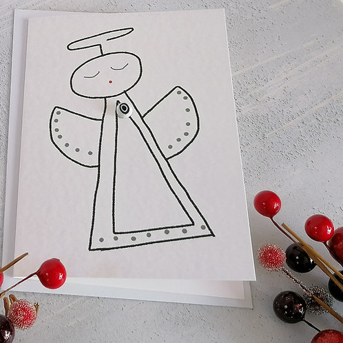 Angel Christmas Greetings Card by Molten Wonky