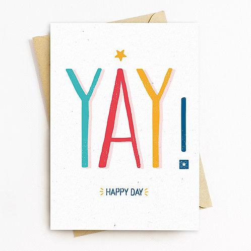 YAY Birthday Greeting Card by Rachel Foley