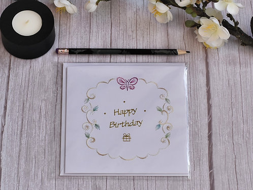 Hand stitched Birthday Card - Pink Butterfly