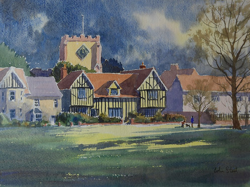Painting of Writtle Green by Colin Steed