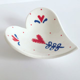 Heart Dishes - Red, Blue and White
