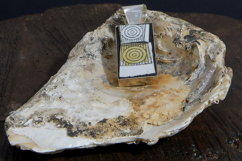 Square Pendant - black, white and yellow circles style
