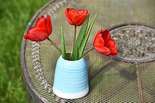 Stoneware Vase Turquoise exterior glazed