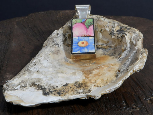 Square Pendant - blue and pink flower style
