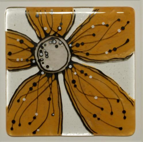 Framed Glass Flower Artwork (Orange)