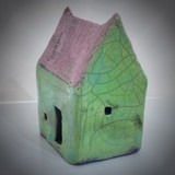 Small Pink & Green Raku house