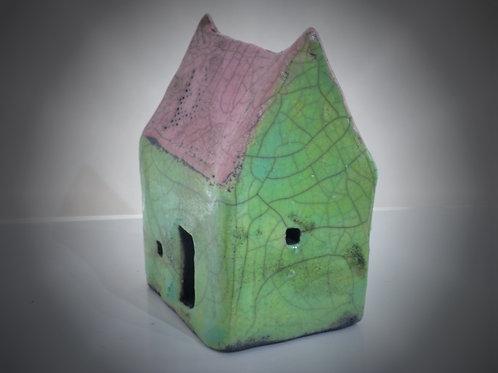 Small Pink & Green Raku house