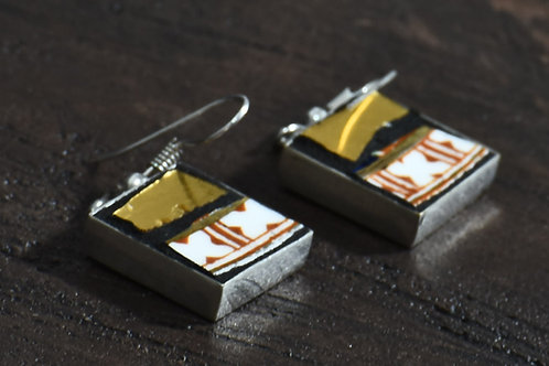 Earrings - gold style, white and orange detail