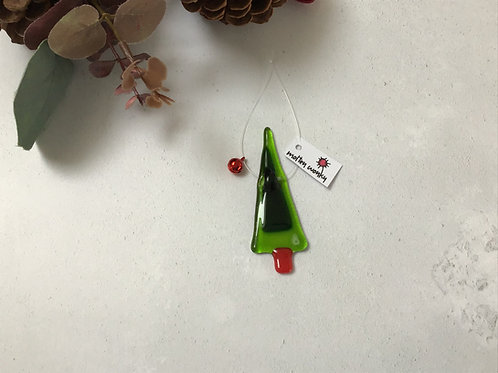 Tiny Tree Fused Glass Hanging Decoration by Molten Wonky