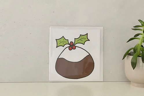 Pud Christmas Greetings Card by Molten Wonky
