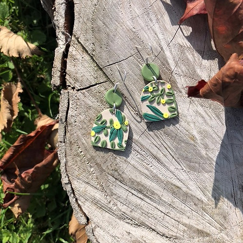 Tangled Eucalyptus - Circle and Stump Dangling Earrings