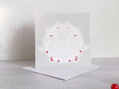 Peace Love Joy  Christmas Greetings Card