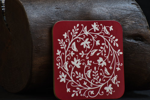 Bird Circle Red Coaster