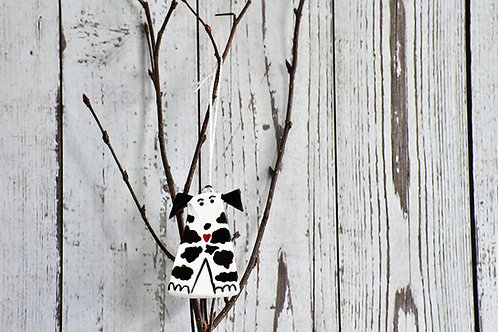 Ceramic Hanging Dog, Quirky Dog Gift in black & white, clouds design