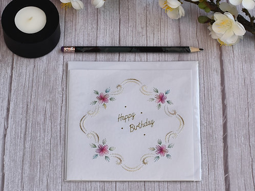 Hand stitched Birthday Card - framed design in Pink tones