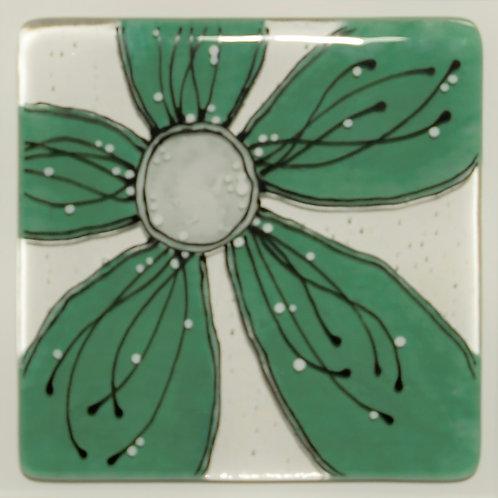 Framed Glass Flower Artwork (Green)