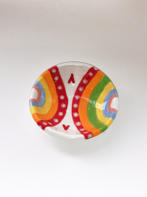 Round Rainbow Dishes - Two Hearts