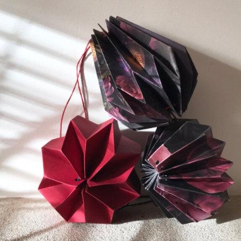 Winter Floral 05. set of 3 Paper Baubles