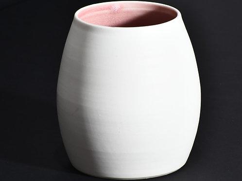 Porcelain vase - unglazed polished exterior, pink