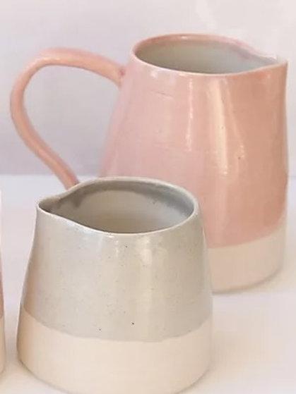Stoneware jug, pink glaze
