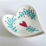 Heart Dishes - Red and Teal flower