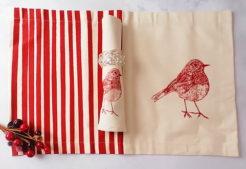 Christmas Placemats Gift Set with Robin