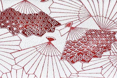 KUUKUO FOLDING WRISTLET CLUTCH BAG (red fan)