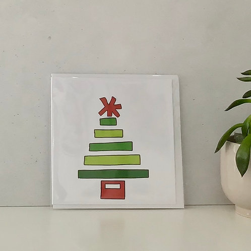 Star Tree Red Christmas Greetings Card by Molten Wonky